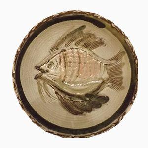 Französischer Keramik Fisch Teller von Albert Thiry, 1950er