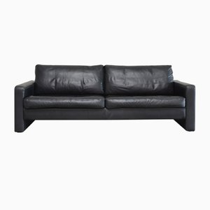 Vintage Conseta Black Leather Sofa from Cor