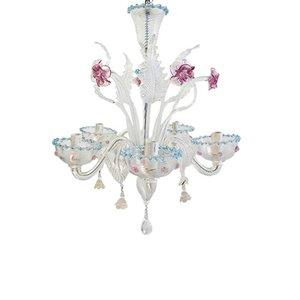 Vintage Venetian 5-Arm Murano Glass Chandelier