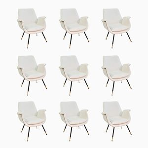 Weiße kleine italienische Sessel mit Kunstleder, 1960er, 9er Set