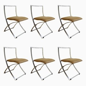 Model Luisa Folding Chairs by Marcello Cune for Mobel Italia, 1970s, Set of 6
