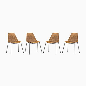 Basket Chairs by Gian Franco Legler for Pierantonio Bonacina, 1950s, Set of 4