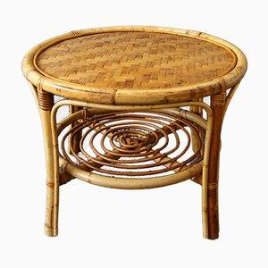 Mesa de centro Mid-Century redonda de bambú