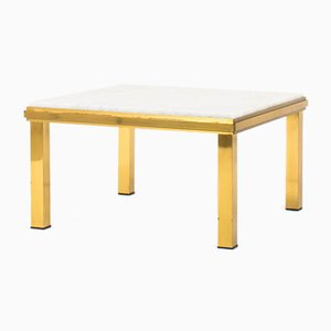 Brass Coffee Table with Carrara Marble Top, 1950s