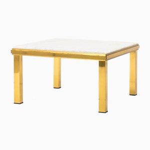 Table Basse en Laiton avec Plateau en Marbre de Carrare, 1950s