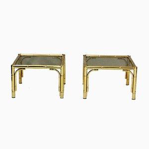 Mesas auxiliares vintage de metal cromado dorado de Belgo Chrom. Juego de 2