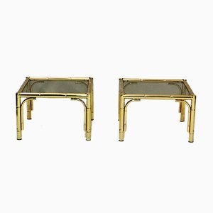 Tables d'Appoint Vintage en Chrome Doré de Belgo Chrom, Set de 2