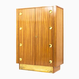 Art Deco Wardrobe in Wood & Brass by Julia Gaubek, 1970s