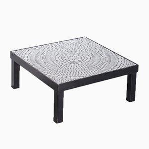 Mesa de centro vintage de acero y resina negra con incrustaciones de mosaico de Raf Verjans