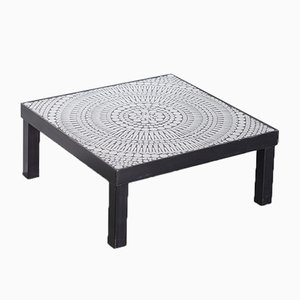 Vintage Coffee Table in Steel & Black Resin with Mosaic Inlays by Raf Verjans