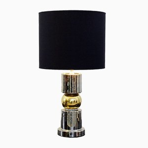 Lámpara de mesa italiana de cerámica dorada y plateada de Zaccagnini, años 60
