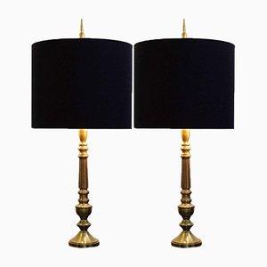 Lámparas de mesa de latón, años 70. Juego de 2