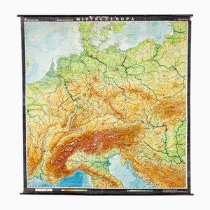 Mapa de Europa central alemán vintage de VEB Hermann Haack, años 70
