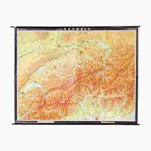 German Map of Switzerland from VEB Hermann Haack, 1970s