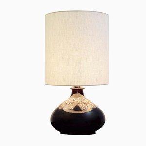 Lámpara de mesa de cerámica Flat Lava en marrón, años 60