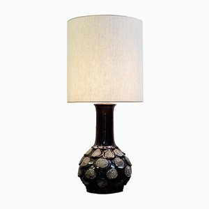 Brown Fat Lava Ceramic Table Lamp, 1960s
