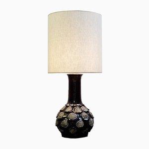 Lámpara de mesa de cerámica Fat Lava marrón, años 60