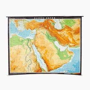 Mapa alemán del Oriente Medio vintage de VEB Hermann Haack, años 70