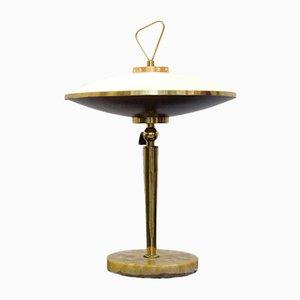Lámpara de mesa regulable con pantalla de vidrio opalino, años 50