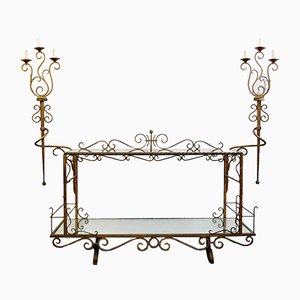 Large Italian Wrought Iron Console Table with Two Mirrored Tops, 1970s