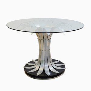 Dining Table with Brushed Chrome Flower-Shaped Base & Glass Top, 1970s