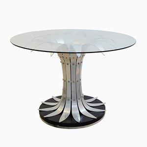 Mesa de comedor con tablero de vidrio y base en forma de flor de cromo cepillado, años 70