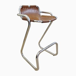 Leather & Chrome Les Arcs Bar Stool by Charlotte Perriand, 1960s