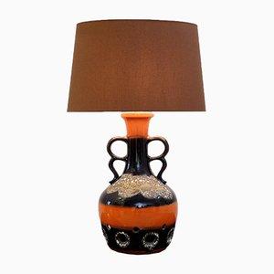 Lámpara de mesa de cerámica Fat Lava en naranja y marrón, años 60