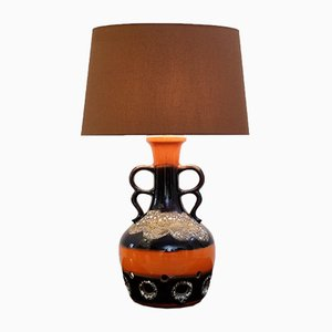 Orange & Brown Fat Lava Ceramic Table Lamp, 1960s
