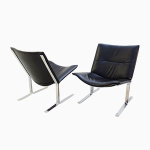 Black Leather and Chrome Chairs, 1970s, Set of 2