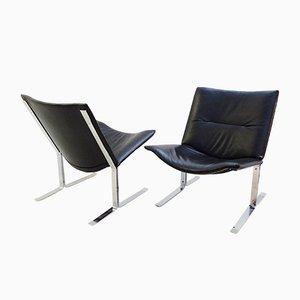 Chaises en Cuir Noir et Chrome, 1970s, Set de 2