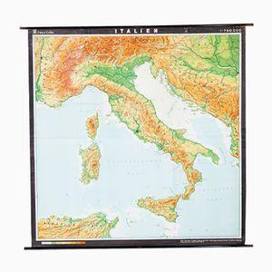 Mapa de italia alemán vintage de VEB Hermann Haack, años 70
