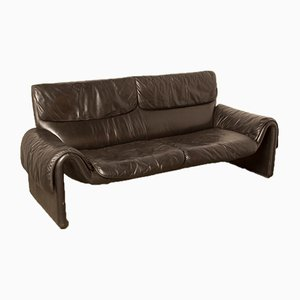 Model DS-2011 Black Leather Sofa from de Sede, 1980s