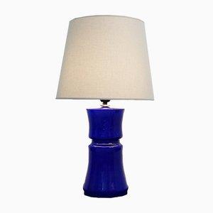 Lámpara de mesa italiano de cristal de Murano en azul cobalto, años 60