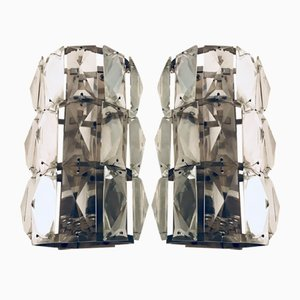 Mid-Century Crystal Sconces, Set of 2