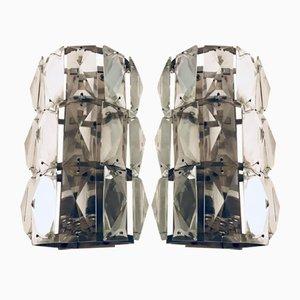 Mid-Century Kristallglas Wandlampen, 2er Set