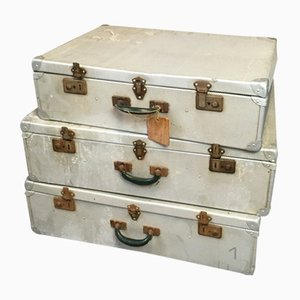 Mid-Century French Industrial Metal Suitcases, Set of 3