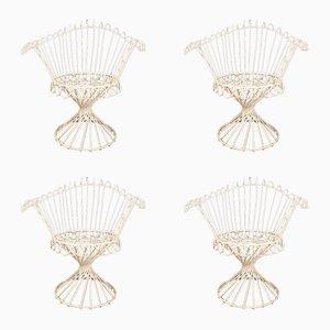 Sillas francesas de hierro de Mathieu Matégot, años 50. Juego de 4
