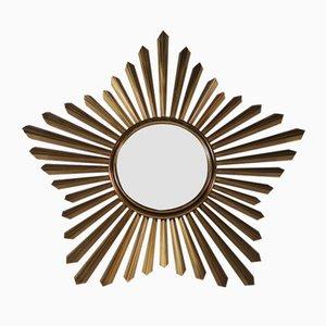 Vintage Convex Sun Mirror in Brass
