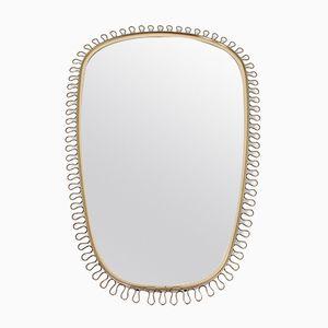 Oval Vintage Mirror with Brass Loops by Josef Frank for Svenskt Tenn