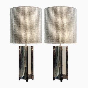 Lampade da tavolo cromate, anni '70, set di 2
