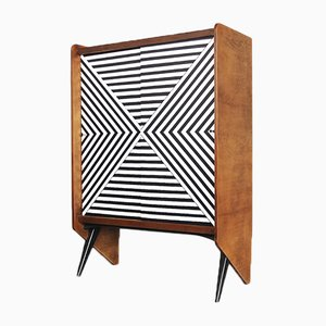 Mid-Century Modern Cabinet with Labyrinth Pattern, 1960s