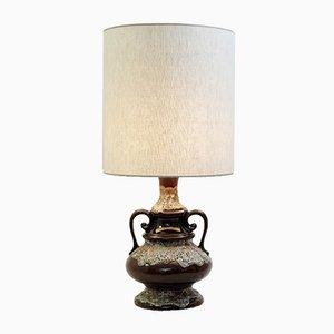 Lámpara de mesa vintage de cerámica Fat Lava en marrón