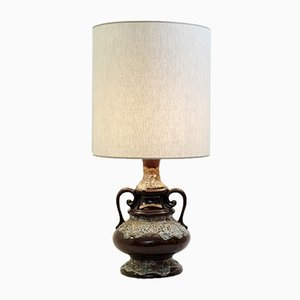 Vintage Fat Lava Brown Ceramic Table Lamp