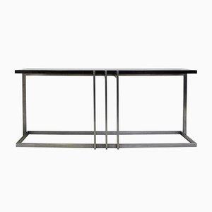 Vintage Konsolentisch aus Stahl mit schwarz lackierter Tischplatte von Paul Le Geard