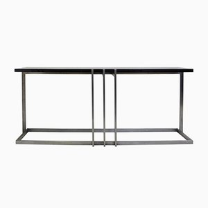 Vintage Steel and Black Lacquered Top Console Table by Paul Le Geard