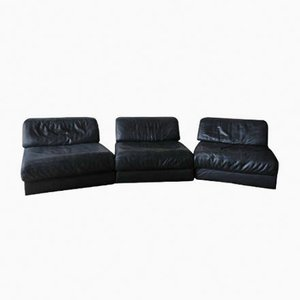 Model D76 Modular Leather Lounge Chairs from de Sede, 1970s, Set of 3