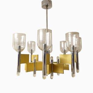 Lustre Géométrique à 8 Lampes Mid-Century par Gaetano Sciolari