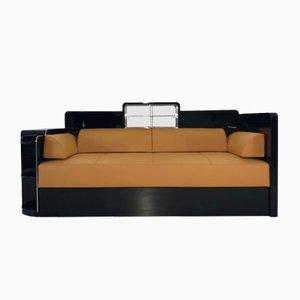 Schwarzes Art Deco Tagesbett / Sofa