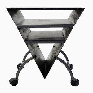 Dreieckiger Vintage Beistelltisch aus Metall